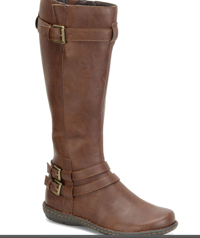 NEW BORN B.O.C. LINOSA BROWN TALL BOOTS WOMENS 10 ZIP SIDE / BUCKLE DETAIL