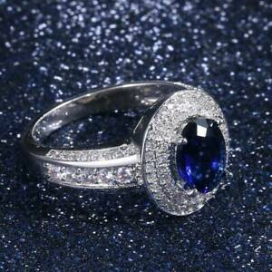 Vintage-925-Silver-Oval-Cut-Blue-Sapphire-Engagement-Wedding-Ring-Wholesale-New