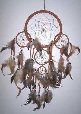 24 IN LARGE RAINBOW TAN DREAMCATCHER new dreams decor feathers beads webbed