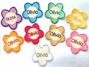 Flower-Sew-on-Iron-on-Sticker-Personalised-embroidered-name-badge-7cm-x-7cm