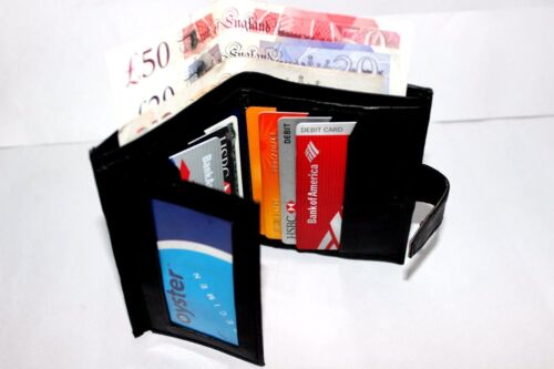 CREDIT CARD HOLDER MENS GENUINE LUXURY SOFT LEATHER WALLET PURSE BLACK