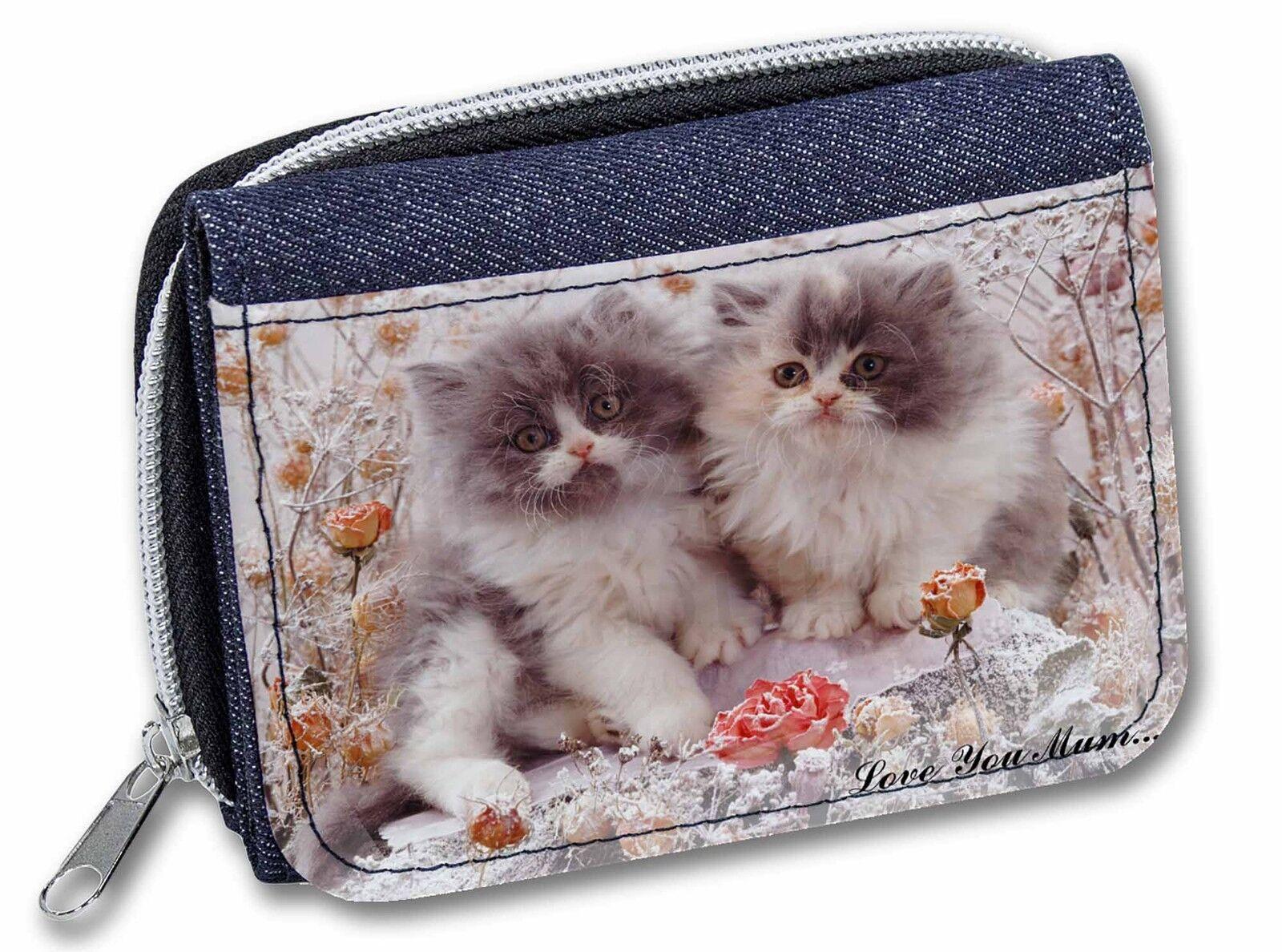 Persian Kittens by Roses 'Love You Mum' Girls/Ladies Denim Purse Wal, AC-60lymJW