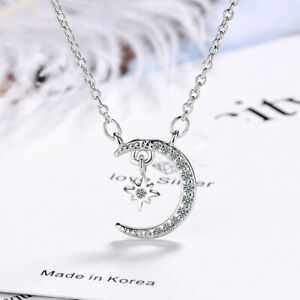 925-Silver-Necklace-Crystal-Star-Moon-Design-Pendant-Women-Jewelry