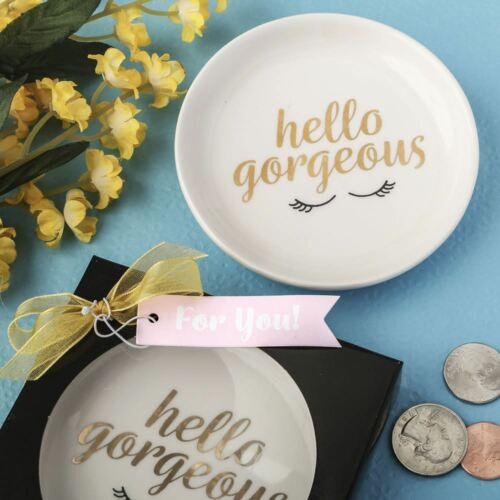 Hello Gorgeous white ceramic jewelry change dish