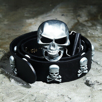 ByTheR Men's Silver Skull Buckle Metal Studded Punk Rock Dope Biker Fashion Belt