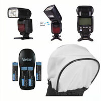 Pro Vivitar Dedicated Flash + Charger + Diffuser + Batteries For Canon Eos Rebel