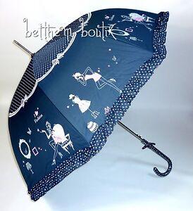Goth Parapluie Cloche /& Canne NOIR à Pois Blanc Noeud Manga Lolita Gothique