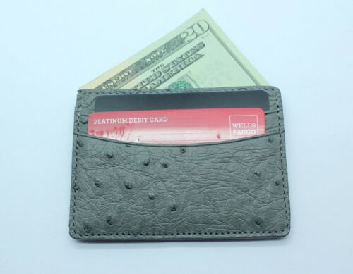 NWOT KELARANUSA GREY GENUINE OSTRICH 5 Pocket Card Case MADE IN USA