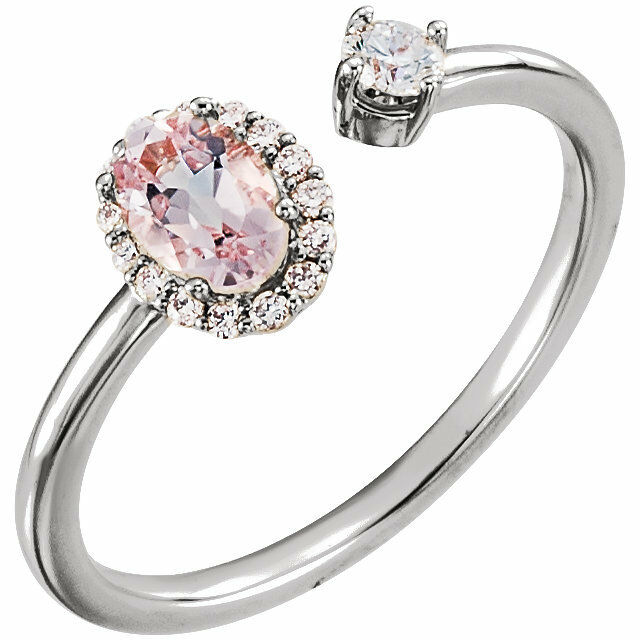 Genuine Morganite & 1 6 CTW Diamond Two-Stone Halo-Style Ring In 14K White gold