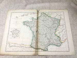1858 Antik Map Of Frankreich Europa Alte Hand- Farbig 19th Jahrhundert Original