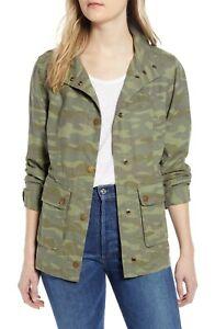 Caslon-Cinch-Waist-Linen-BLend-Utility-Jacket-Size-XL-Camo-Green-Womens