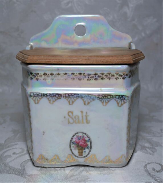 Vintage White Block Porcelain Ceramic Lusterware Salt Box Canister
