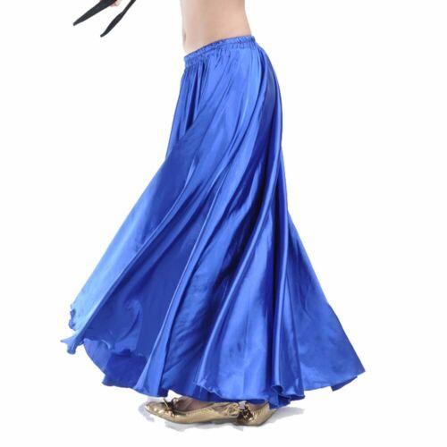 Full Circle Satin Long Skirt Swing Belly Dance Costumes Festival Skirt Dress