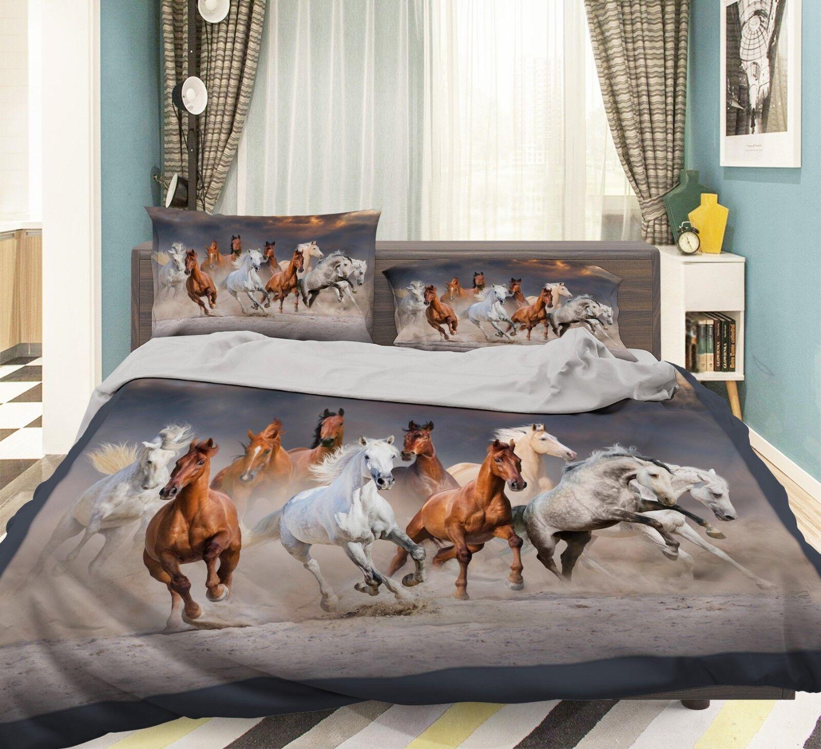 3D Run Horses 36 Bed Pillowcases Quilt Duvet Cover Set Single Queen King Size AU