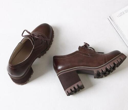 Womens Oxfords High Heels Roman Platform Lace Up Retro Wingtip Brogues Shoes SY
