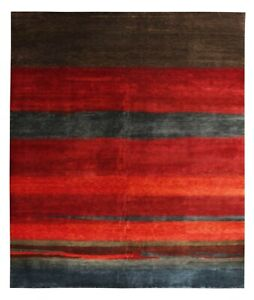 Multi-Red-Gabbeh-Loribaft-Orient-Traditional-Hand-Knotted-100-Woolen-Area-Rugs