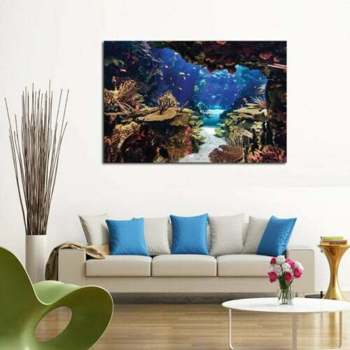 Multi Panel Print Divers Cave Reef Canvas Wall Art Ocean Life Underwater 5 Piece
