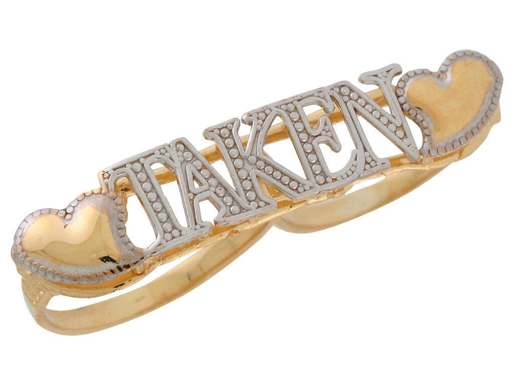 10k or 14k Two-Toned gold Ladies Taken Two Finger Ring with Heart Accents