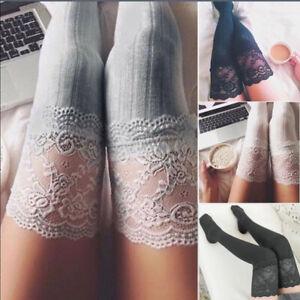 US-Women-Lady-Winter-Warm-Over-The-Knee-Thigh-High-Soft-Socks-Stockings-Leggings