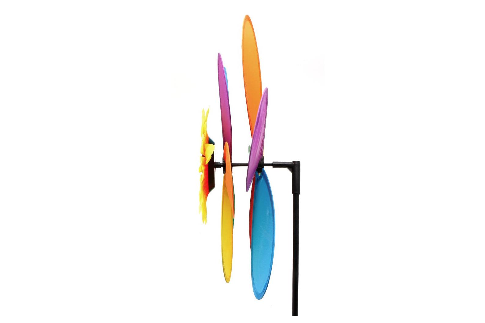Sunflower Windmill Wind Spinner Rainbow Whirligig Wheel Home Yard Decoration
