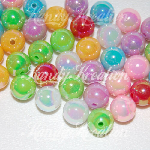 10mm Rainbow Mix Acrylic Round Pearl Spacer Bead for bottle cap gum ball Jewelry