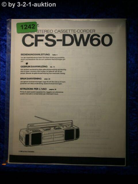 Sony Manual Cfs Dw60 Cassette Corder   1242