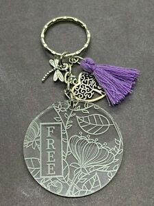 Engraved Acrylic Key Ring Charms Tassel Bag Charms Stocking Stuffer Gift Ideas