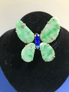 Antique Chinese Export Enamel Green Ice Jade Jadeite Butterfly brooch Qing Dy