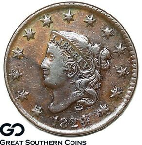 1824-Large-Cent-Coronet-Head-Choice-AU-Better-Date-Copper-Free-Shipping