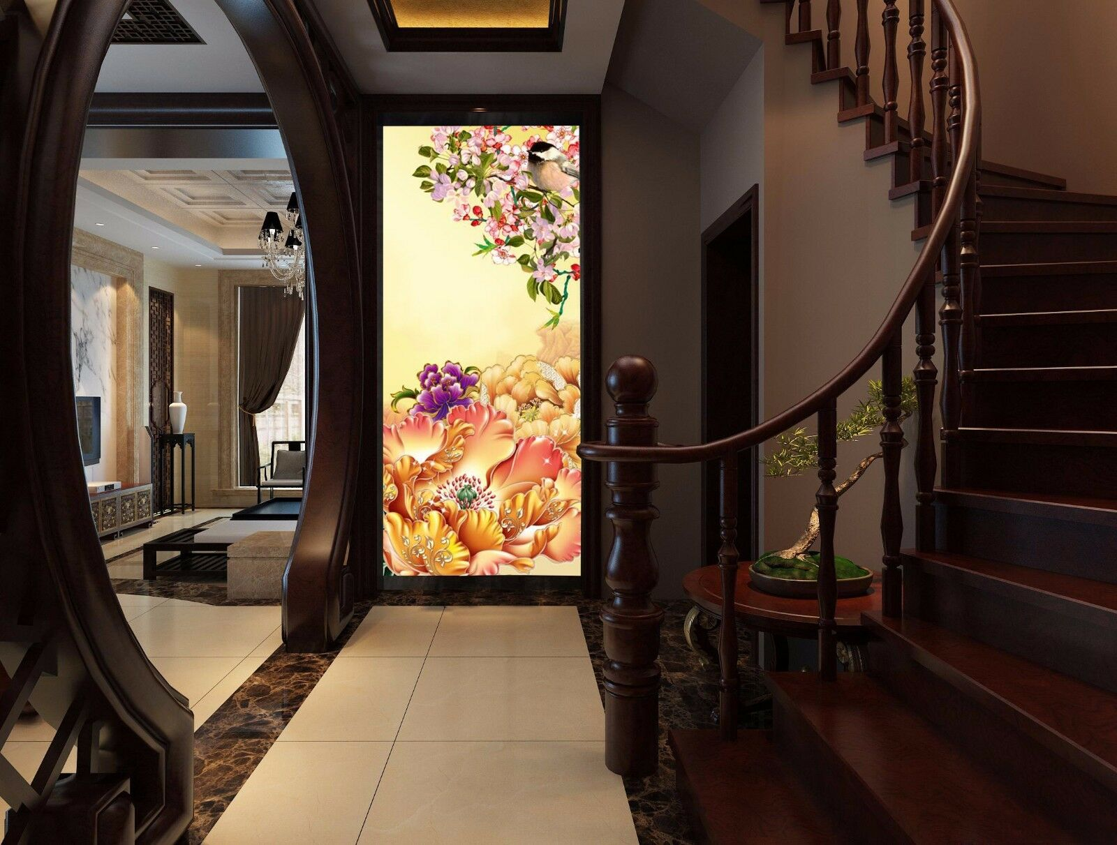 3D Flower Farbeful Large Wall Paper wall Print Decal Wall Deco Indoor wall Mural
