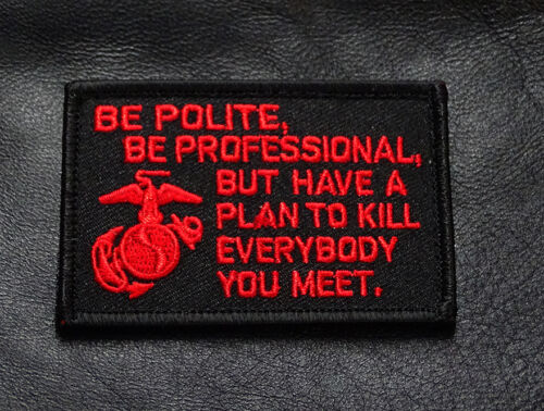 BY MILTACUSA RED//BLK MARINE CORPS USMC James Mattis Quote MORALE HOOK PATCH
