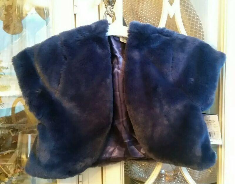 Knitworks Navy Faux Fur Vest Jacket Plush Girls Size 16 Sleeveless Nwt