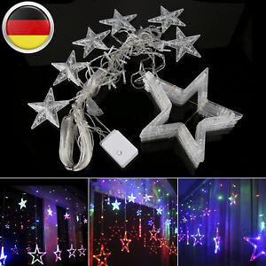 Weihnachtsdeko Lichter.Details Zu Bunt Led Lichterkette Stern Vorhang Fenster Baum Weihnachtsdeko Flash Lichter De
