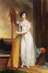 Oil painting Thomas Sully - Lady with Harp Eliza Ridgely female portrait canvas
