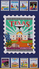 """24"""" X 44"""" Cotton Panel Quilt Across Texas Postage Stamps Fabric Panel D503.01"""