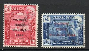 Aden Mukalla 1946 Victory Fine Used Set As Blocks 4 Stamps Stamps