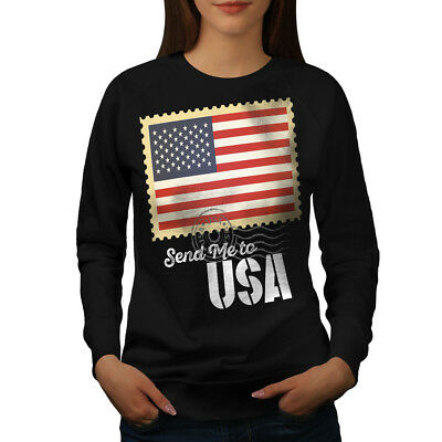 Gewissenhaft Wellcoda Send Me Usa Flag Womens Sweatshirt, United Casual Pullover Jumper Extrem Effizient In Der WäRmeerhaltung