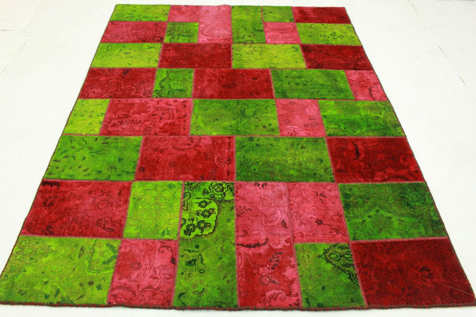 Orient alfombra Modern Vintage patchwork 240x170 verde look usado oriental 1988