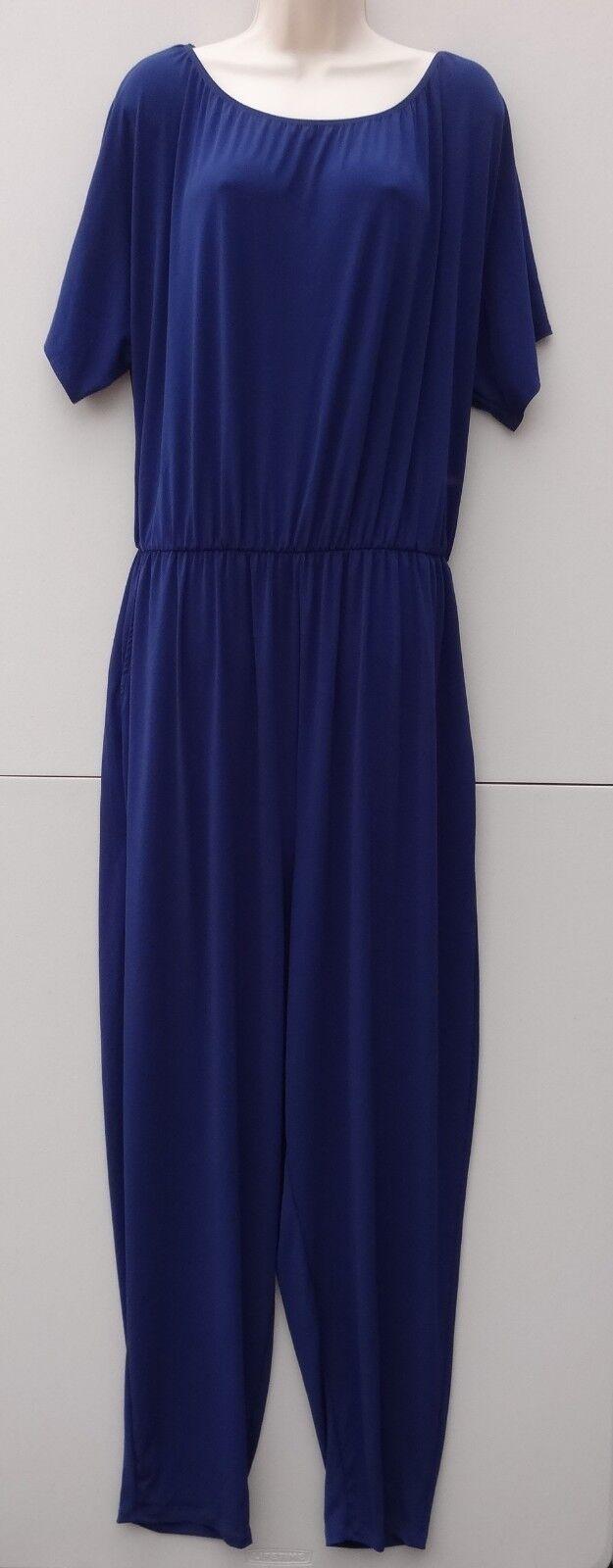 Kim & Co Brazil Knit Dolman Sleeve Jumpsuit Regular Size 3XL - French Navy