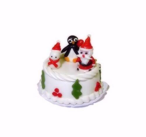 Dollhouse Christmas Santa Claus Snowman Penguin Cake 1:12 Scale Miniatures