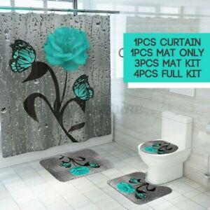 4pcs-Set-Wasserfest-Gruen-Schmetterling-Rose-Duschvorhang-Bad-Toilettensitz-Mat