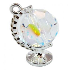 Cristal-Tournant-Globe-Breloque-3D-925-Breloques-en-Argent