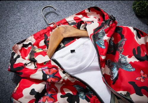 Giacca Uomo Camouflage Cappotto con cappuccio Farfalla Fiore Sport Giacca Cappotto Outwear