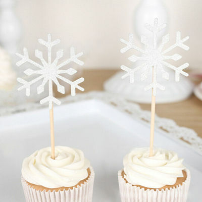 10 Pcs Snowflake Cupcake Toppers Baby Girl Birthday Party Christmas Decorations