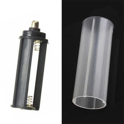 2Pcs Plastic 18650 Battery Tube Holder For Flashlight Torch Lamp Light White ok