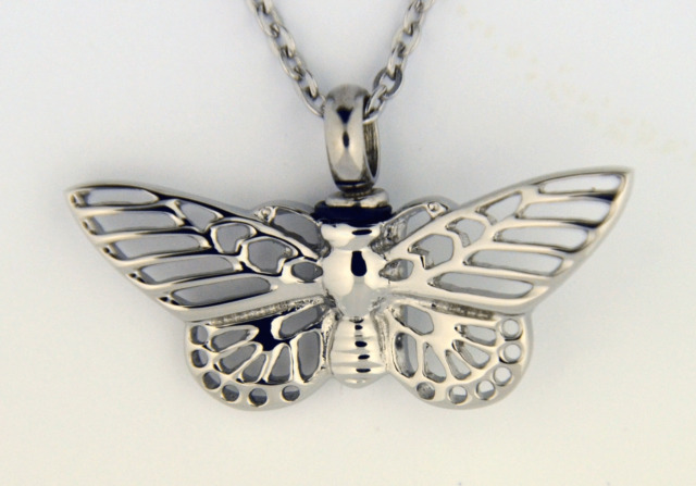 """Stainless Steel Butterfly Cremation Jewelry Pendant Urn w/ 20"""" Necklace - Ashes"""