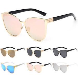 Oversized-Vintage-Mirrored-Cat-Eye-Sunglasses-Metal-Frame-Glasses-Retro-Women-AU