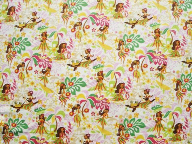 New Hawaiian Hawaii Hula Girls Cream Print Fabric BTY