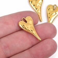 "5 Gold HEART Charm Pendants hammered stylized elongated 2-3//8/"" chg0591"