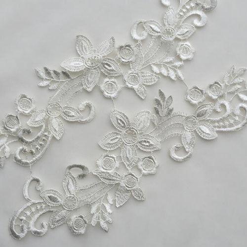 1 Pair Blumen Stickerei Spitze Applique DIY Hochzeitskleid Spitzenkragen 26x8cm